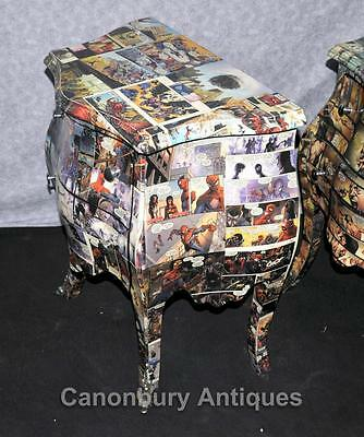 Pair Art Deco Comic Print Chests Drawers Bedside Table Nightstands 8