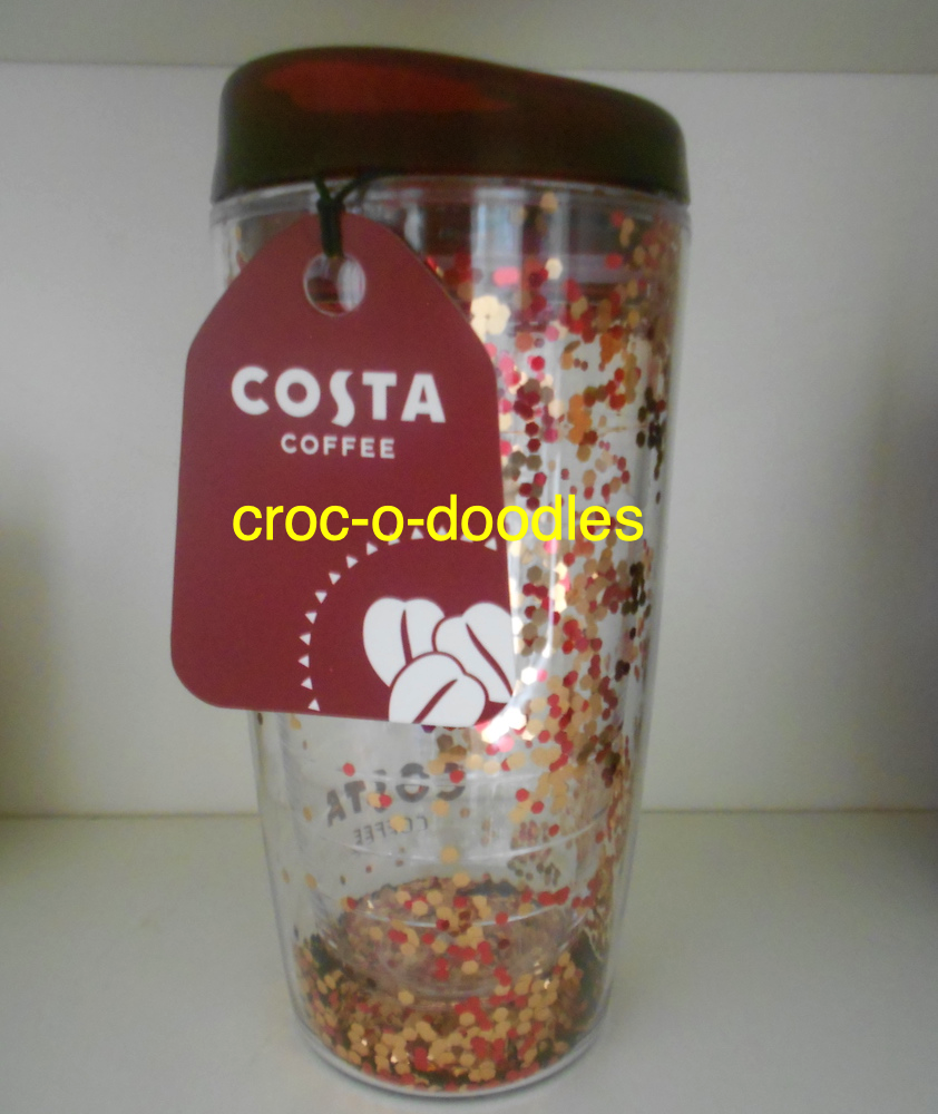 Costa Coffee Glitter Travel Mug Tumbler Water Cup Insulated