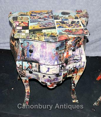 Pair Art Deco Comic Print Chests Drawers Bedside Table Nightstands 3