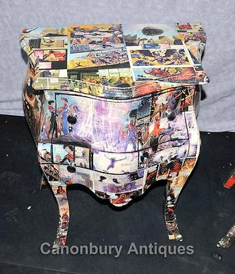 Pair Art Deco Comic Print Chests Drawers Bedside Table Nightstands 2