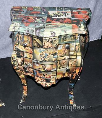 Pair Art Deco Comic Print Chests Drawers Bedside Table Nightstands 10