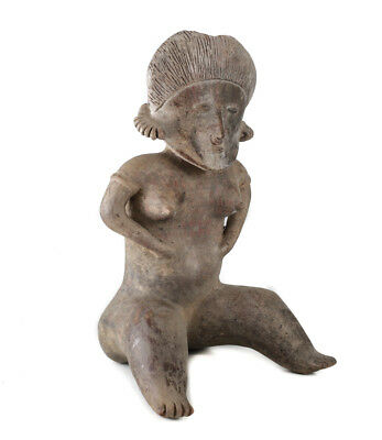 Pre-Columbian NAYARIT Mexico Pottery Large Female Seated Figure, Chinesco Style 2