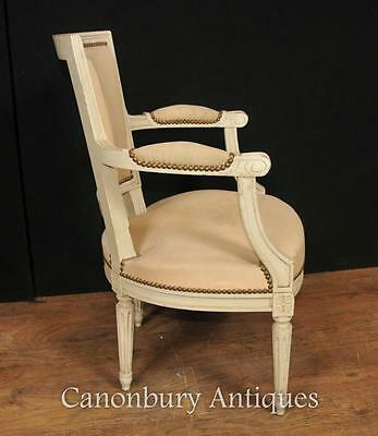 Pair French Neo Classical Arm Chairs Fauteuil Painted Chair 5