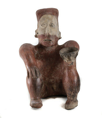 Pre-Columbian JALISCO Mexico Pottery Large Seated Figure, Ameca  style 2