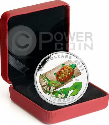 17296 2015 Glass Turtle with broadleaf Arrowhead Flower $20 Silver 1oz.9999Fine
