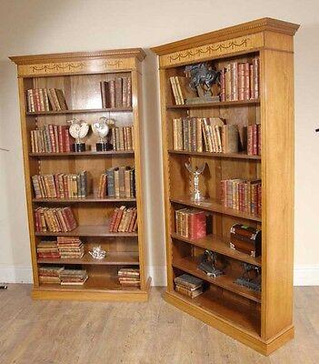 7 Ft English Regency Open Sheraton Bookcases Satinwood 4