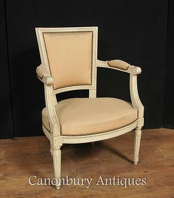 Pair French Neo Classical Arm Chairs Fauteuil Painted Chair 2