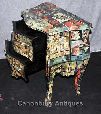 Pair Art Deco Comic Print Chests Drawers Bedside Table Nightstands 11