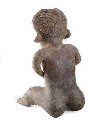 Pre-Columbian NAYARIT Mexico Pottery Large Female Seated Figure, Chinesco Style 4