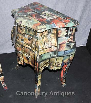 Pair Art Deco Comic Print Chests Drawers Bedside Table Nightstands 6