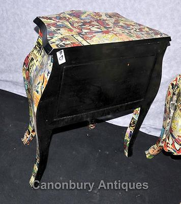 Pair Funky Comic Print Chests of Drawers Deco Commode Bombe 11 • £950.00