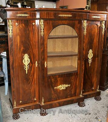 Antique French Empire Bookcase Cabinet Flame Mahogany 1880 5