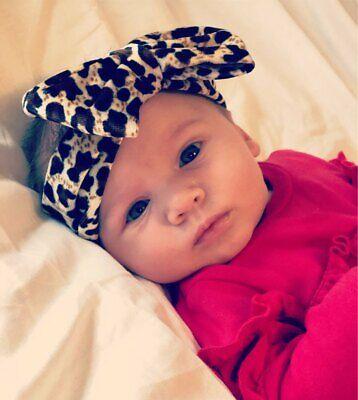 Newborn Baby Girls Leopard Bow Headband Infant Elastic Knot Hair Band Head Wrap 3