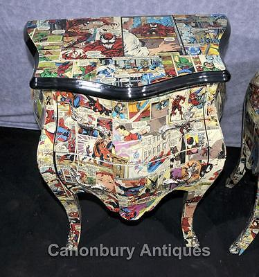 Pair Chest Drawers Comic Print Bedside Chests Tables Nightstands 10