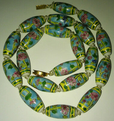 Antique Chinese Art Deco Necklace Estate Porcelain Hand Painted Large Beads Long 7
