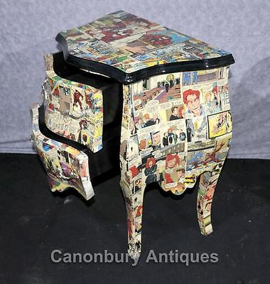 Pair Chest Drawers Comic Print Bedside Chests Tables Nightstands 2