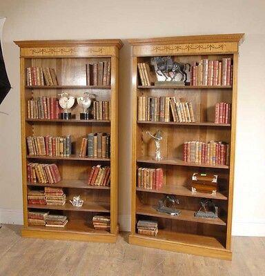 7 Ft English Regency Open Sheraton Bookcases Satinwood 9