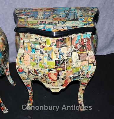 Pair Funky Comic Print Chests of Drawers Deco Commode Bombe 8