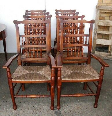 Set 8 English Pad Foot Spindle Back Chairs Spindleback 4