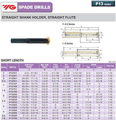 """3"""" Shank, Straight Flute Short Length YG1 Spade Drill Holder 4"""