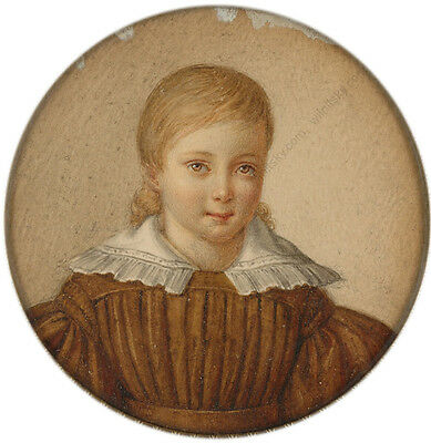 """""""Portrait of a little girl"""" French miniature from a famous collection, 1820/30s 2"""
