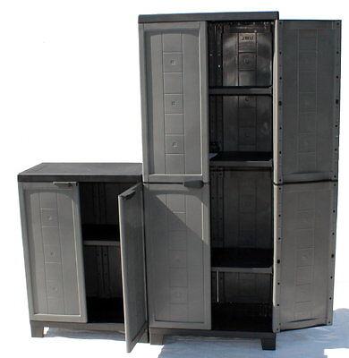 2 x kunststoffschrank werkstatt universalschrank gartenschrank schrank regal neu. Black Bedroom Furniture Sets. Home Design Ideas