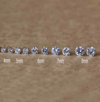 Women Men Genuine 925 Solid Sterling Silver Cubic Zirconia Round Stud Earrings 6