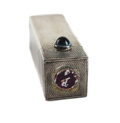 Vintage Italian 800 Silver engine textured Lipstick Case Compact, aqua blue