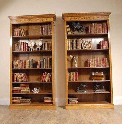 7 Ft English Regency Open Sheraton Bookcases Satinwood 6