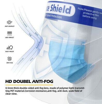 2/6/10/20 Pack Safety Face Shield Clear Full Cover Tool Mask and hand clean 2