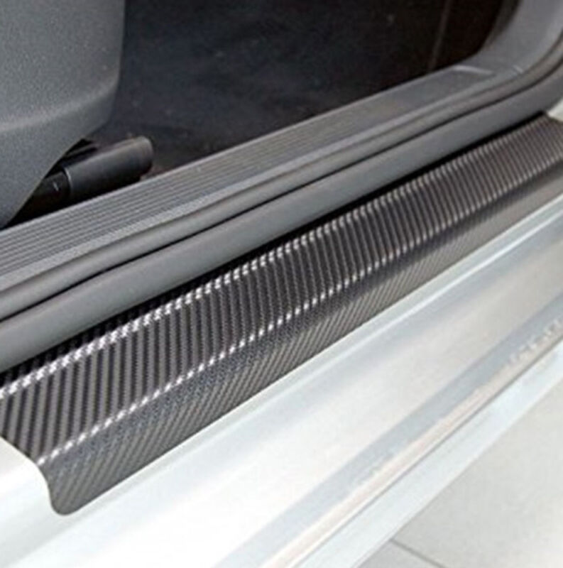 4Pcs 3D Carbon Fiber Black Car Door Sill Scuff Plate Cover Anti Scratch Sticker 10