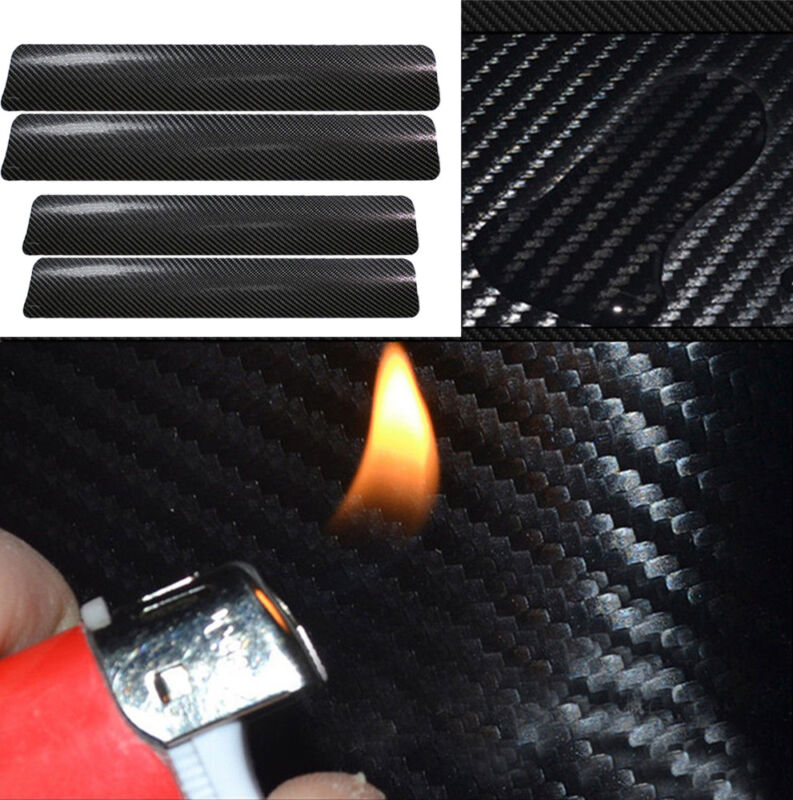 4Pcs 3D Carbon Fiber Black Car Door Sill Scuff Plate Cover Anti Scratch Sticker 3