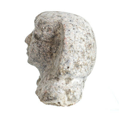 Archaic Egyptian Stone Head Fragment with Khat headdress 3