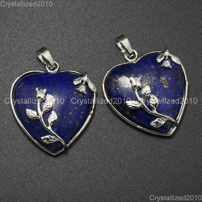 Natural Gemstone Heart Silver Plated Flower Reiki Chakra Pendant Charm Beads 9