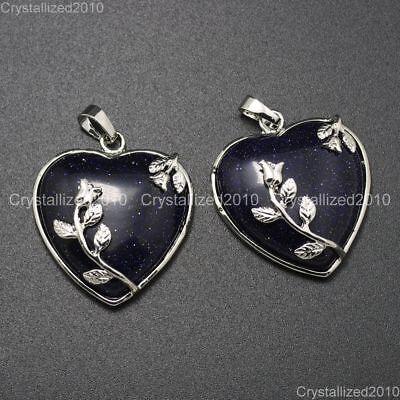 Natural Gemstone Heart Silver Plated Flower Reiki Chakra Pendant Charm Beads 3