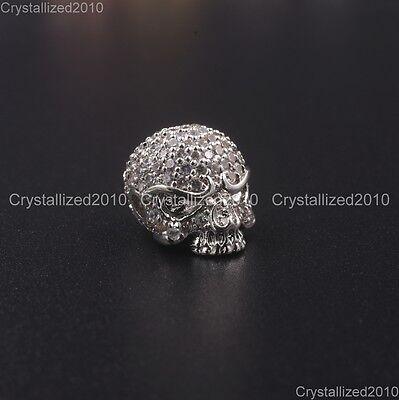 Zircon Gemstones Pave Solid Round Drilled Skull Bracelet Connector Charm Beads 9