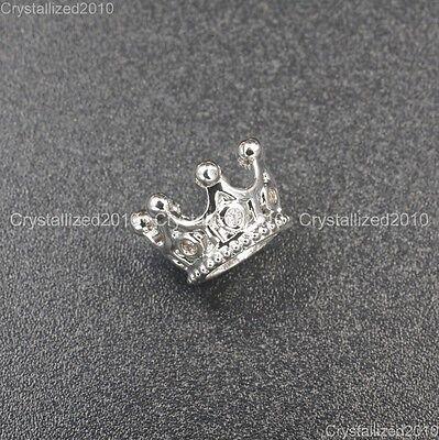 Zircon Gemstones Pave Queen Crown Big Hole Bracelet Connector Charm Beads 6x11mm 3