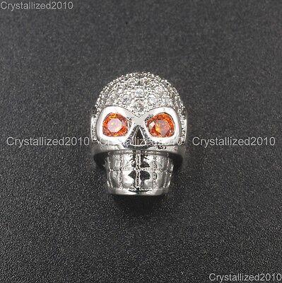 Zircon Gemstones Pave Horizontal Drilled Skull Bracelet Connector Charm Beads 7