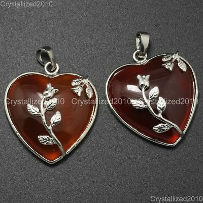 Natural Gemstone Heart Silver Plated Flower Reiki Chakra Pendant Charm Beads 8
