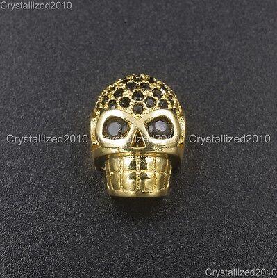 Zircon Gemstones Pave Horizontal Drilled Skull Bracelet Connector Charm Beads 11
