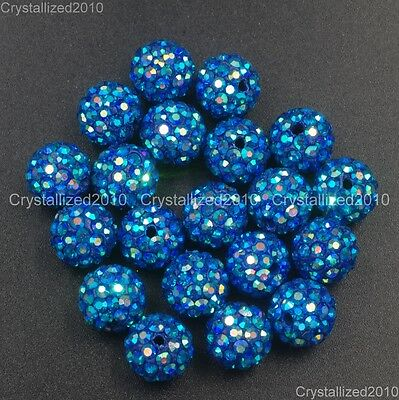 20Pcs Quality Czech Crystal Rhinestones Pave Clay Round Disco Ball Spacer Beads 9