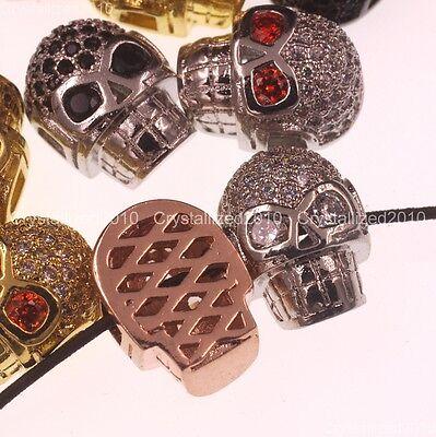 Zircon Gemstones Pave Horizontal Drilled Skull Bracelet Connector Charm Beads 4