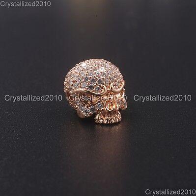 Zircon Gemstones Pave Solid Round Drilled Skull Bracelet Connector Charm Beads 10