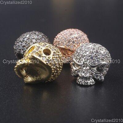 Zircon Gemstones Pave Solid Round Drilled Skull Bracelet Connector Charm Beads 6
