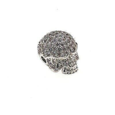 Zircon Gemstones Pave Solid Round Drilled Skull Bracelet Connector Charm Beads 7