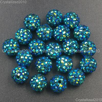 20Pcs Quality Czech Crystal Rhinestones Pave Clay Round Disco Ball Spacer Beads 8