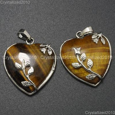 Natural Gemstone Heart Silver Plated Flower Reiki Chakra Pendant Charm Beads 7