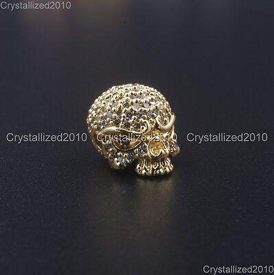 Zircon Gemstones Pave Solid Round Drilled Skull Bracelet Connector Charm Beads 8