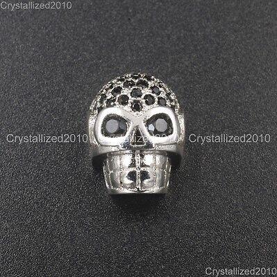 Zircon Gemstones Pave Horizontal Drilled Skull Bracelet Connector Charm Beads 8