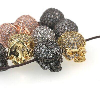 Zircon Gemstones Pave Solid Round Drilled Skull Bracelet Connector Charm Beads 2